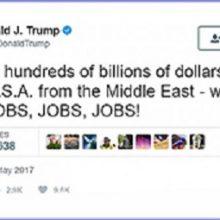 ترامپ در تازهترین پیام توئیتری اش نوشت: صدها میلیارد دلار را از خاورمیانه (غرب آسیا) به آمریکا برمیگردانیم که به معنای شغل، شغل، شغل خواهد بود.
