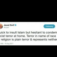 وزیر امور خارجه کشورمان در این توییت نوشت: سرعت در توهین به اسلام و مردد در محکوم کردن تروریسم نژادپرستانه در خانه. تروریسم به نام نژاد یا مذهب، تروریسم است