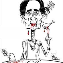 «این روزهای آنگ سان سوچی » عنوان کاریکاتور ساسان خادم در نیشخط است.