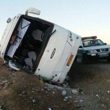مصدومیت ۱۴ مسافر به دلیل واژگونی اتوبوس در اتوبان قزوین به رشت+اسامی مصدومان