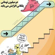 در حاشیه اظهارات وزیر کار برای افزایش پلکانی حقوق، طراوت نیکی این کارتون را با عنوان پلکان در نیشخط منتشرکرد.